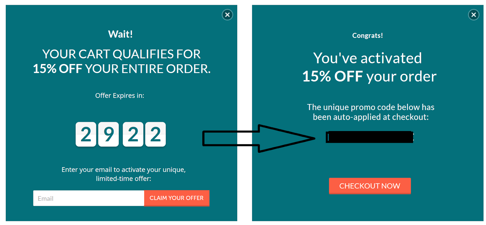example of a timed Shopify exit intent popup from Leesa
