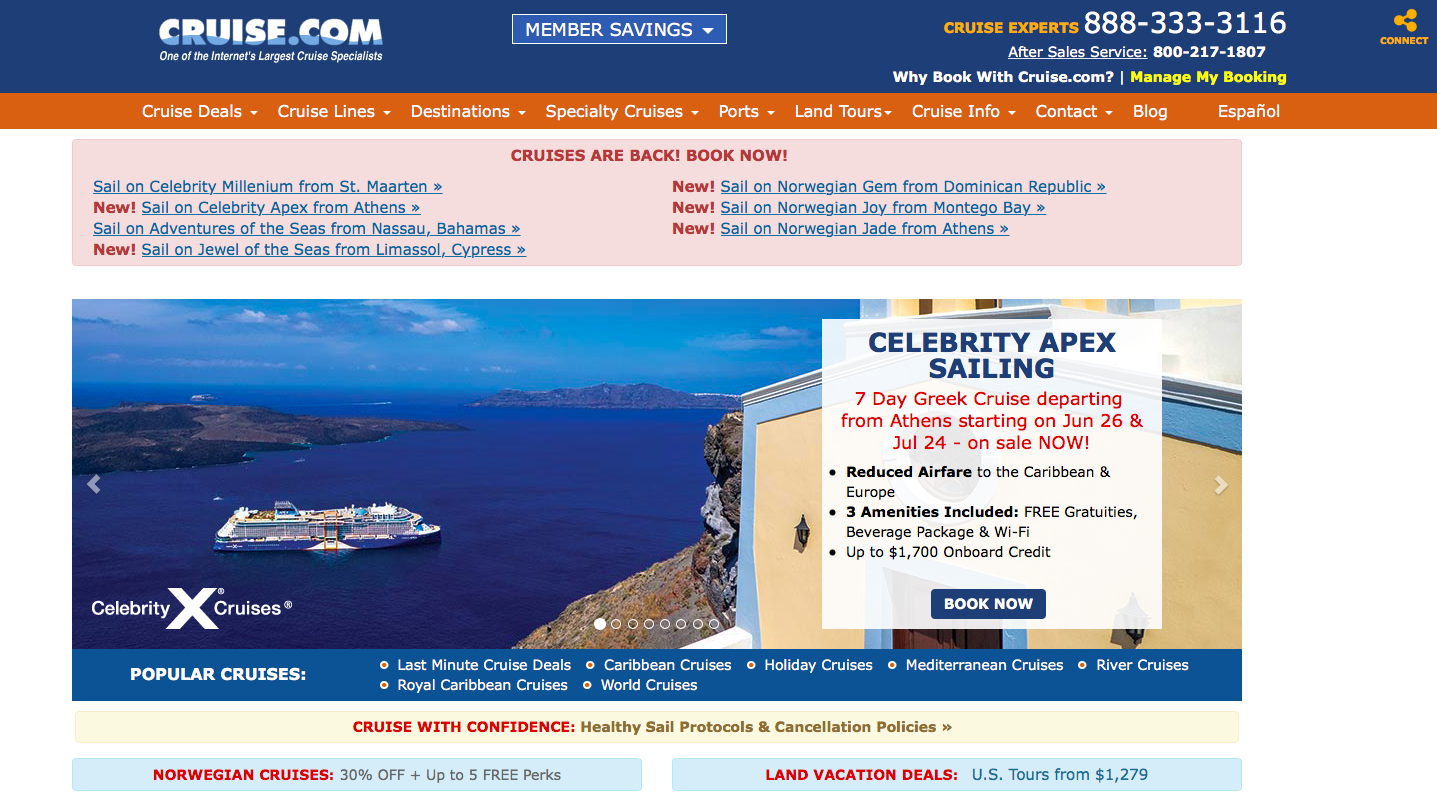 Cruise.com landing page - CTA is lost