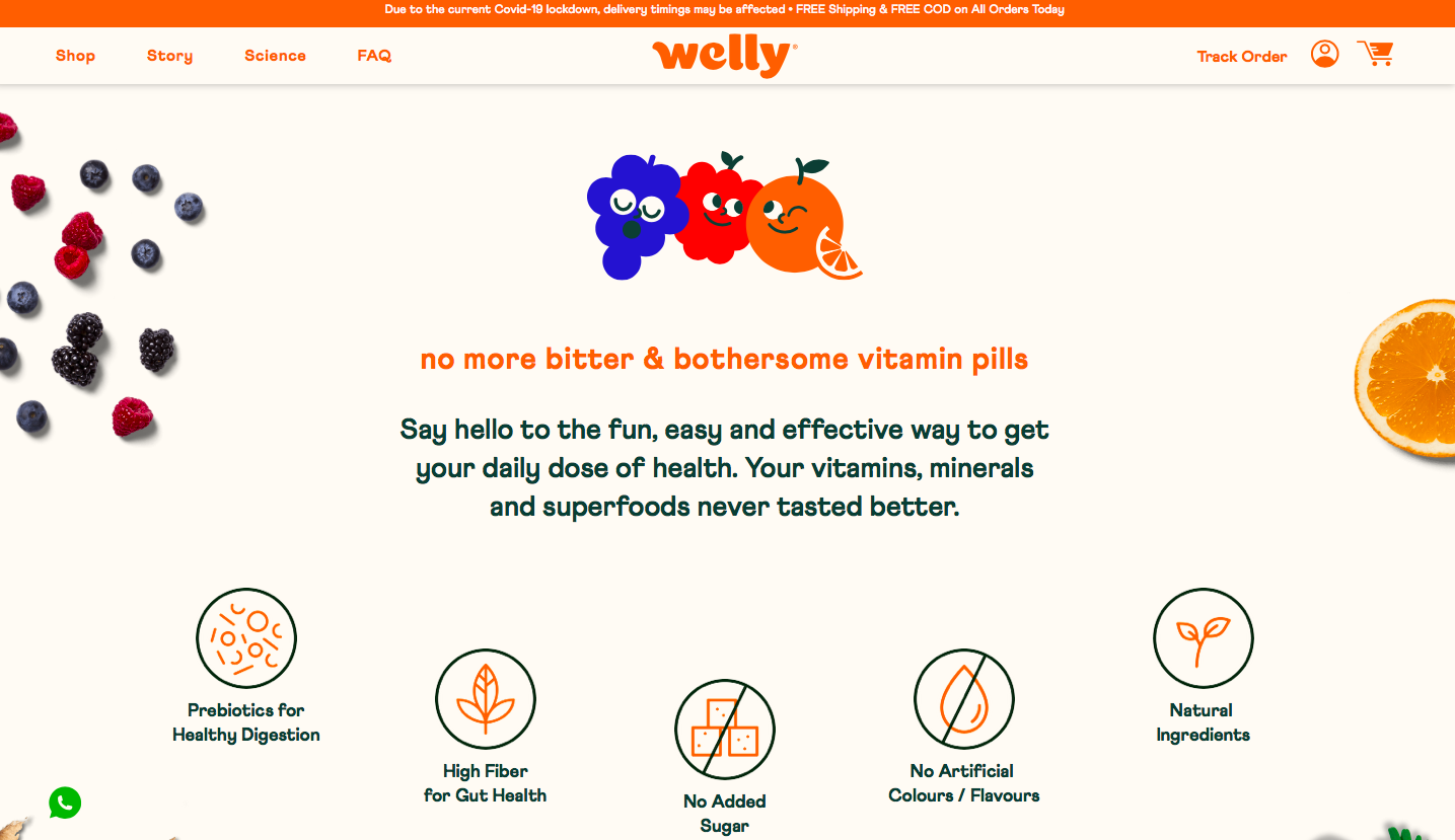 welly example of a landing page that talks about benefits