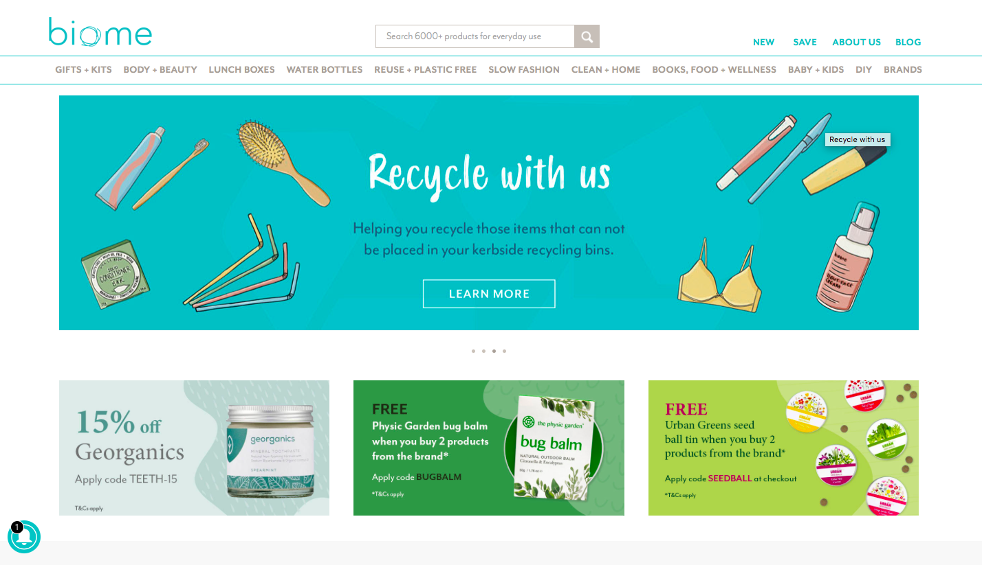 Biome example of a landing page with a well placed CTA