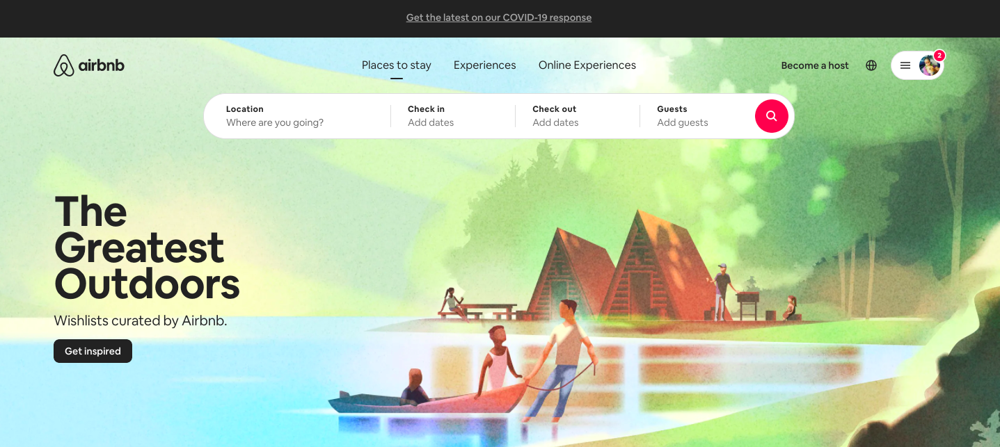 Airbnb's landing page - great CTA
