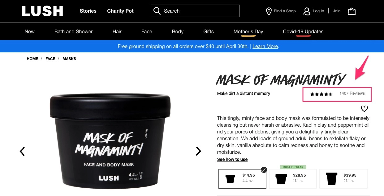 Lush's example of good social proof