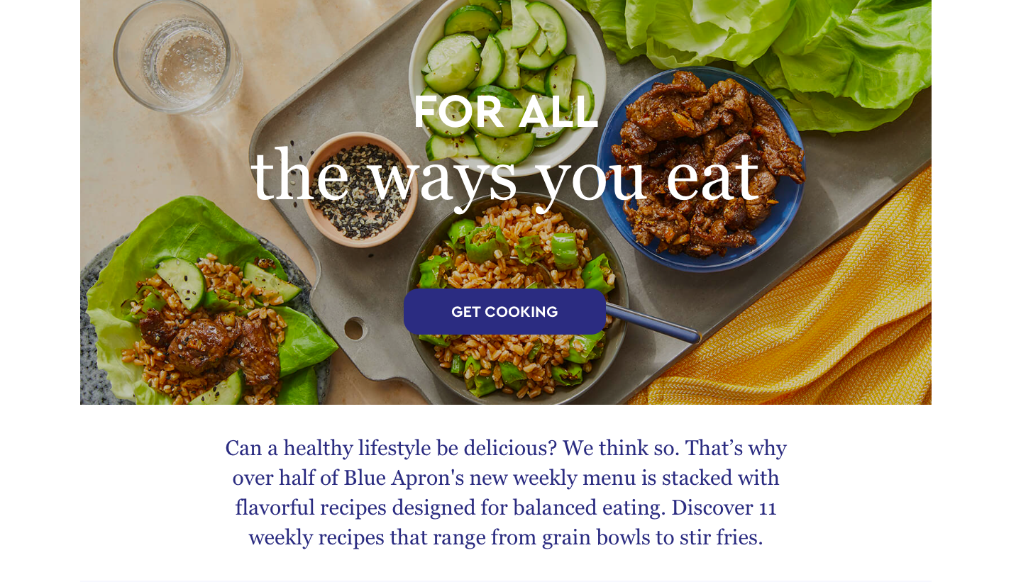 Blue apron's example of a landing page that tells a story