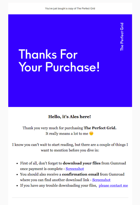example of post purchase thank you email