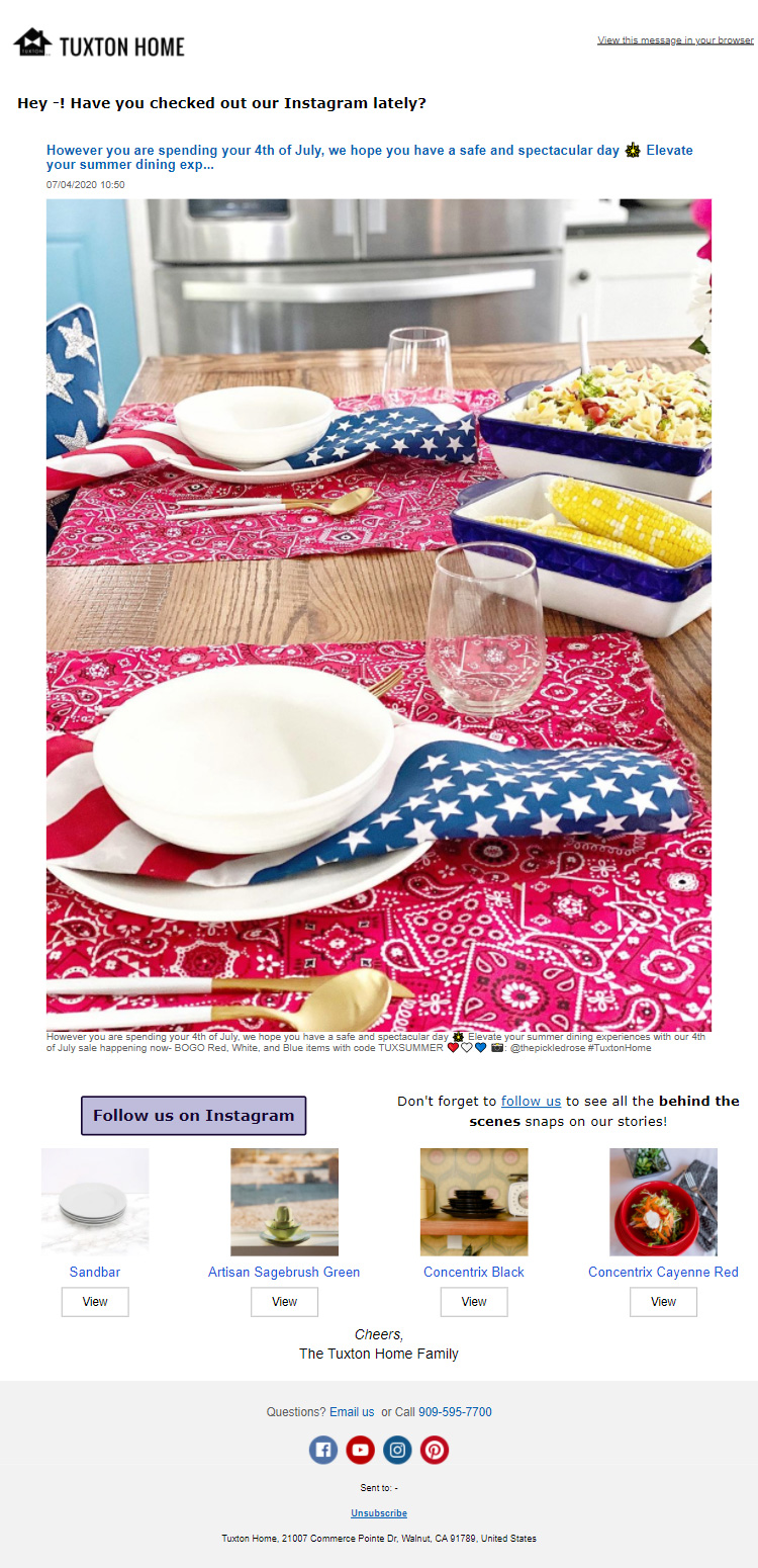 Tuxtonhome independence day email campaign