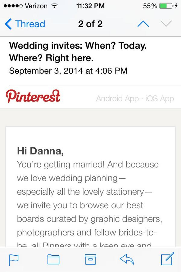 email sent by pinterest that was incorrect