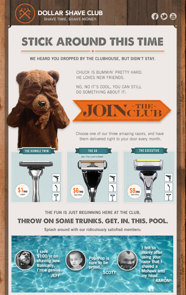dollar shave club example of social proof