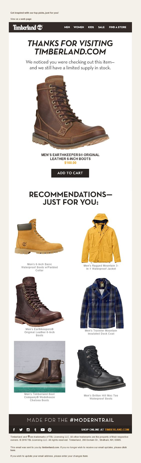 example of an browse abandonment email that reminds users of where they left off