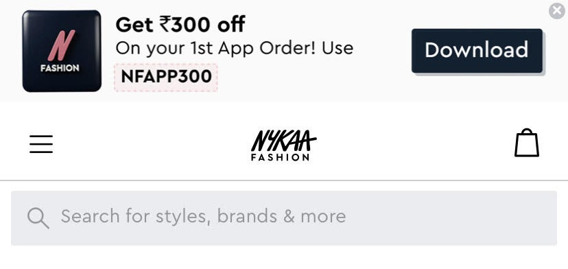 example of a search bar icon in a mobile product page