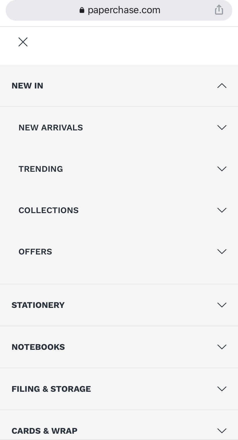 example of clear site hierarchy a mobile product page