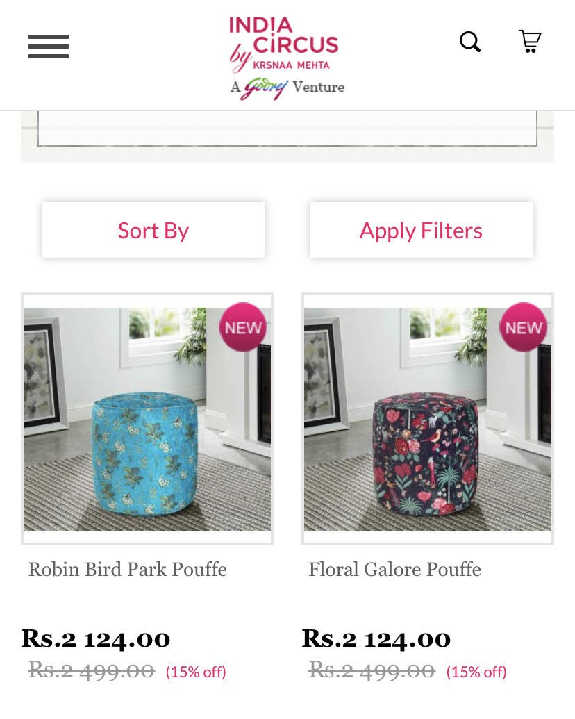 example of product thumbnails on a mobile product page