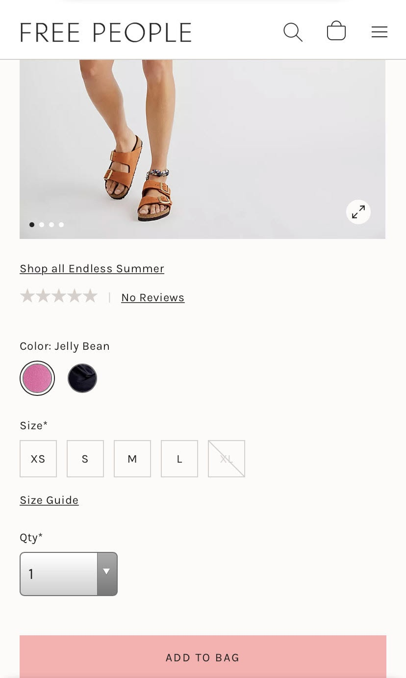 example of an icon-first approach on mobile product pages