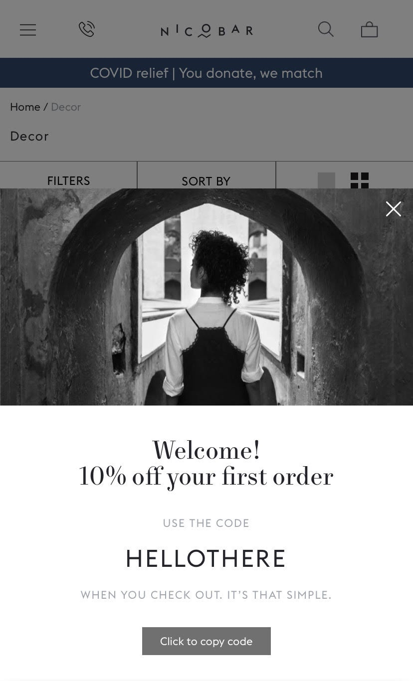 example of using flexible CTAs on mobile product pages