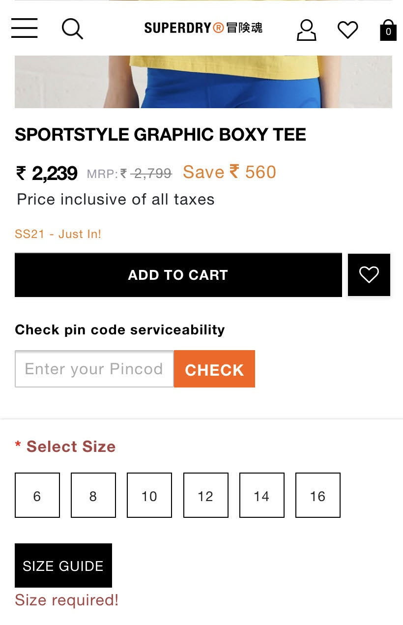 example of an error callout on mobile product pages