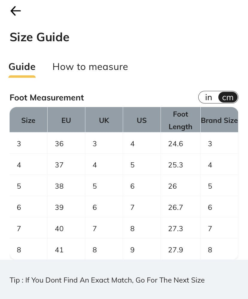 example of size chart as popup on mobile product pages