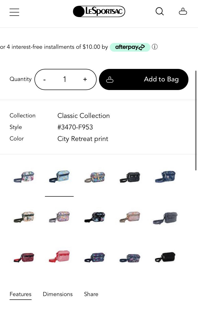 example of customizable color selection on mobile product pages