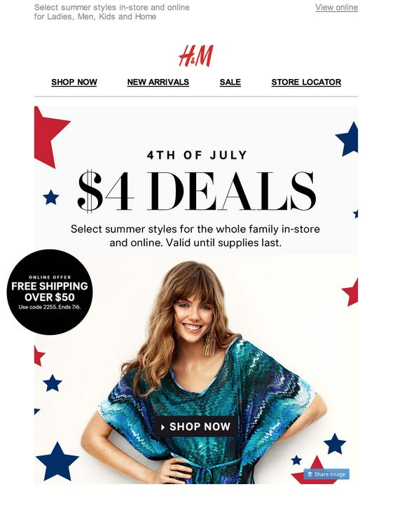 H&M independence day email campaign