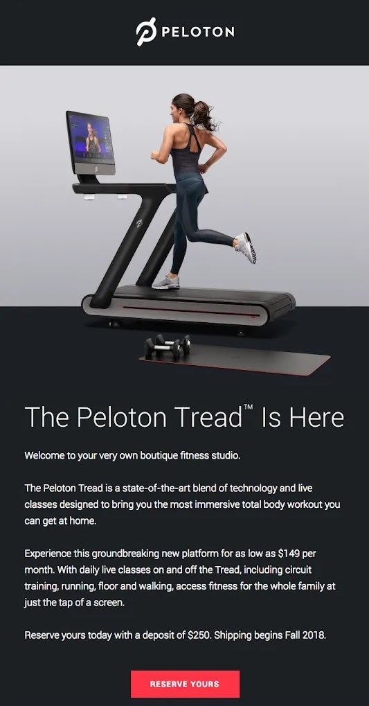 Peloton's example of product launch email