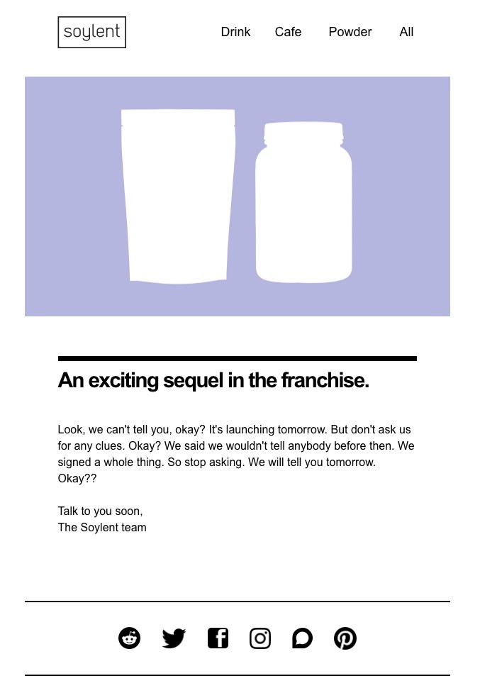 Soylent's product teaser email