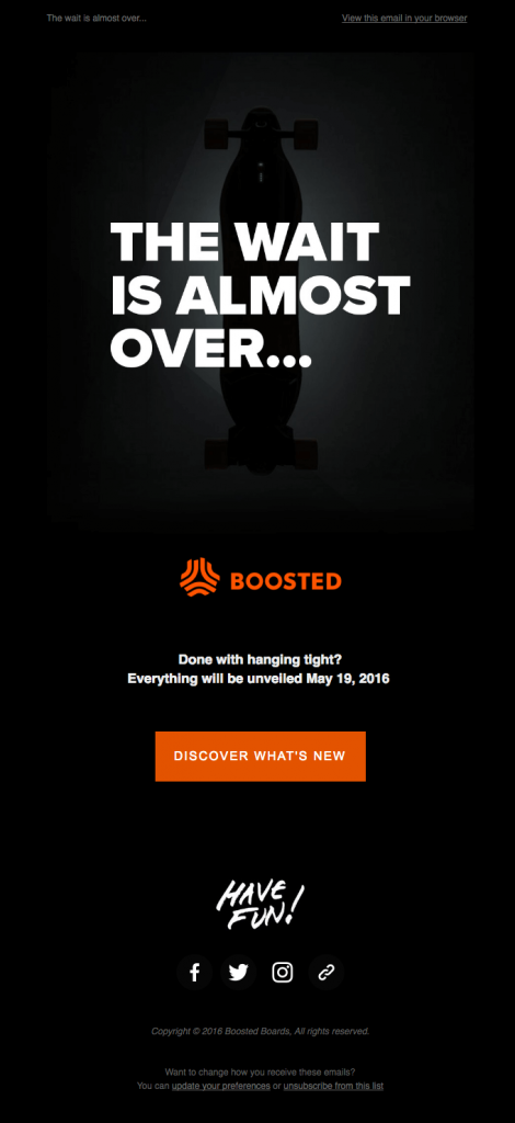 Boosted example of product launch email