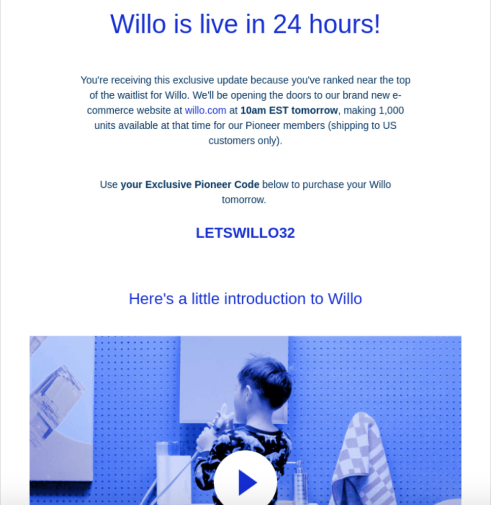 Willo's example of product launch email