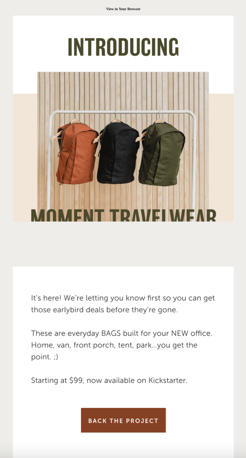 Moment's product launch email