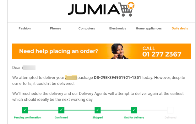 Jumia after sales email