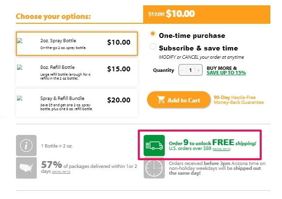Example of free shipping discount bundle from Jigsaw Health