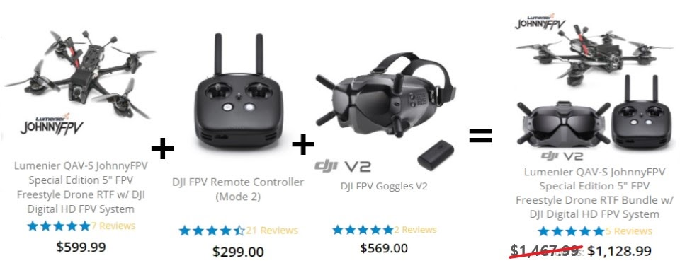 Example of a buy more pay less bundling tactic from GetFPV