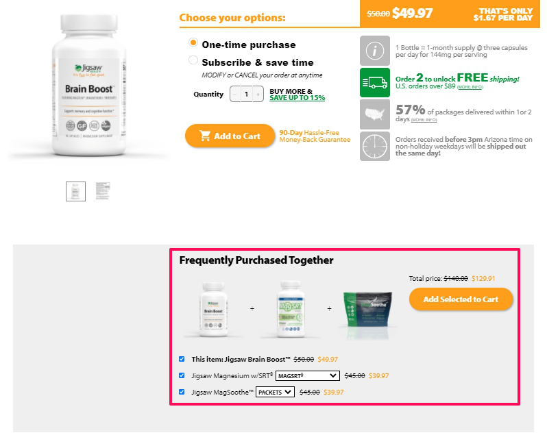 Example of a cross-selling bundle from Jigsaw Health