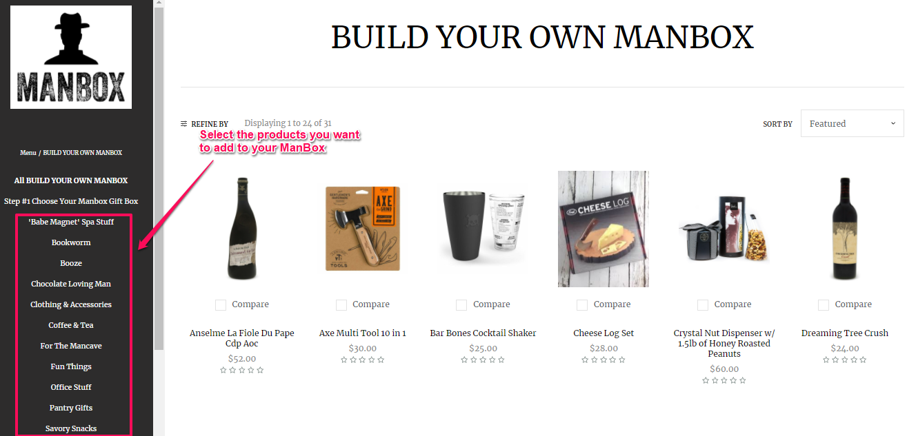 example of a DIY bundle from Manbox