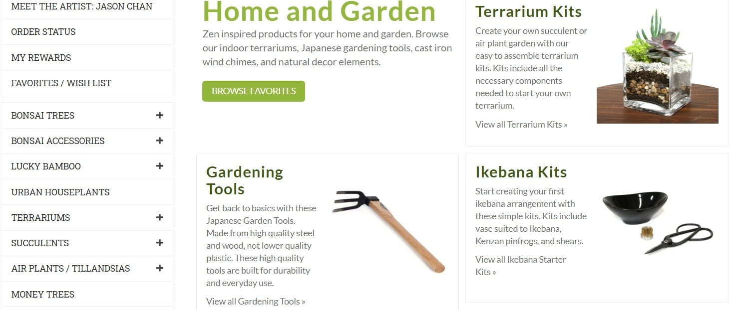 Example of category page elements