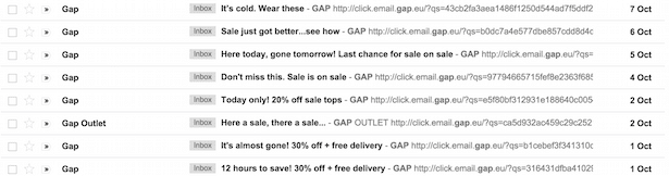 GAP sending out emails 5 times in a week,