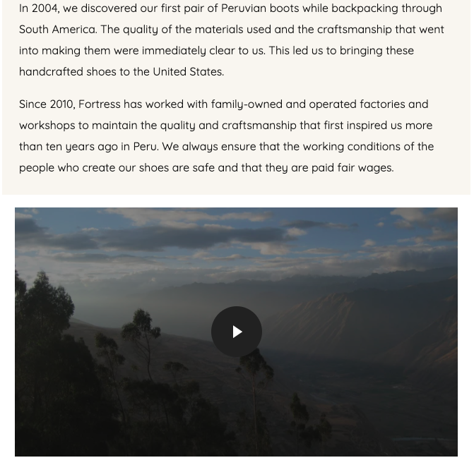 About Us page from Fortress Of Inca