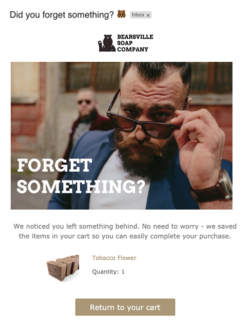 example of a well-crafted emailer from Bearsville Soap Company