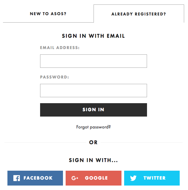 example of a modern streamlined checkout from ASOS.