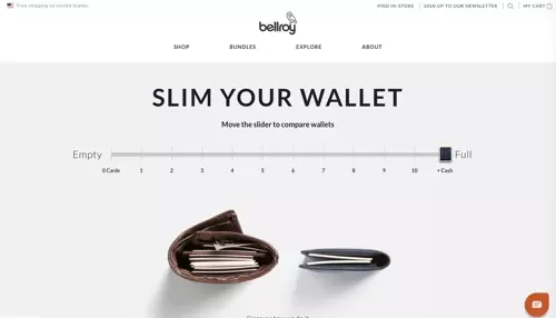 animated slider on their homepage that allows the user to see how slim their wallet is compared to the usual
