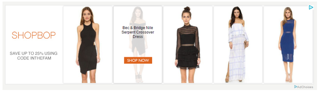 example of retargeting from Shopbop.