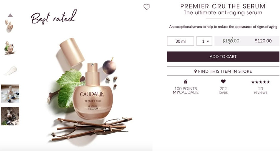 Caudalie which uses multiple forms of social proof.