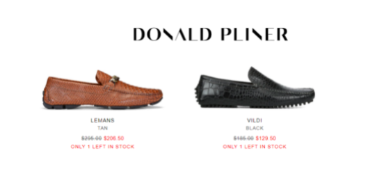 Donald Pliner which shows remaining stock