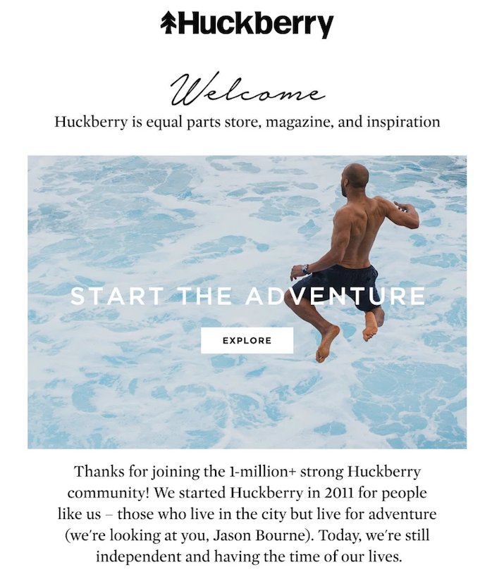 example from Huckberry of good cta