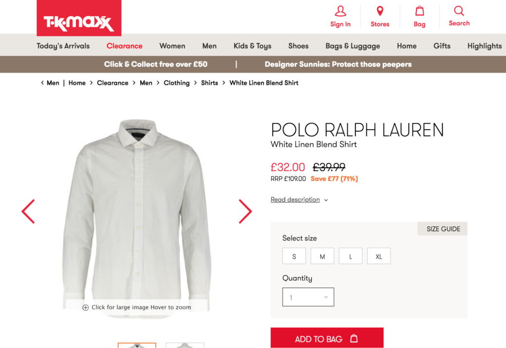 great example from TKMaxx of anchor pricing