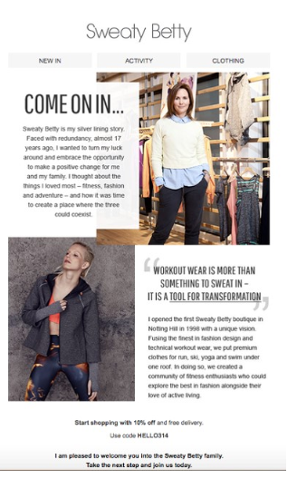 Sweaty Betty uses storytelling to build recall and brand