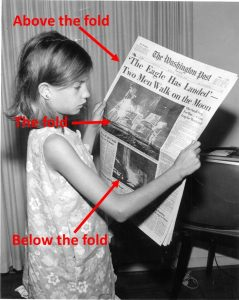 example of above the fold, the fold, and below the fold