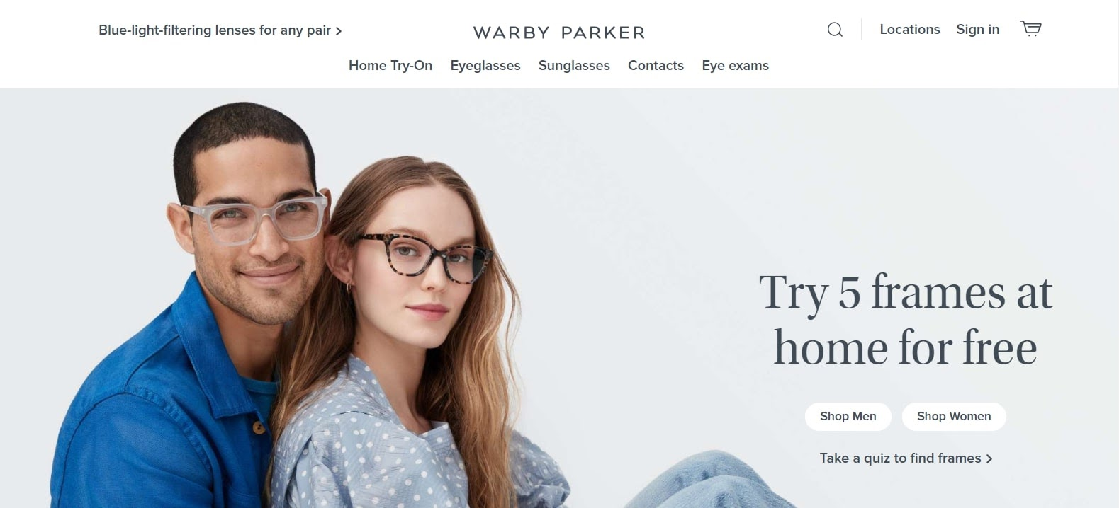 Example of above the fold example from warby parker