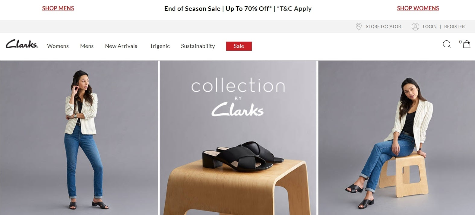 example of above the fold website content from clarks