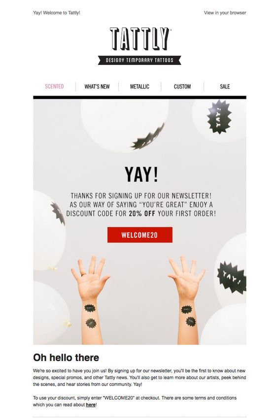 tattly welcome email