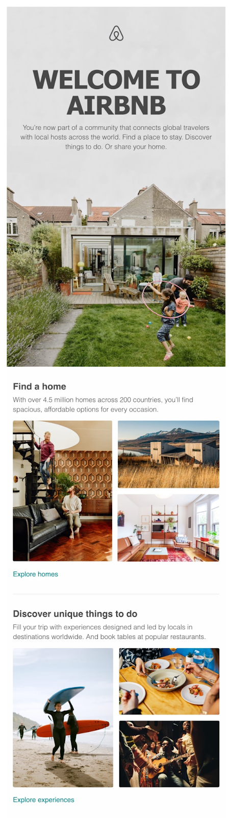 Airbnb welcome email