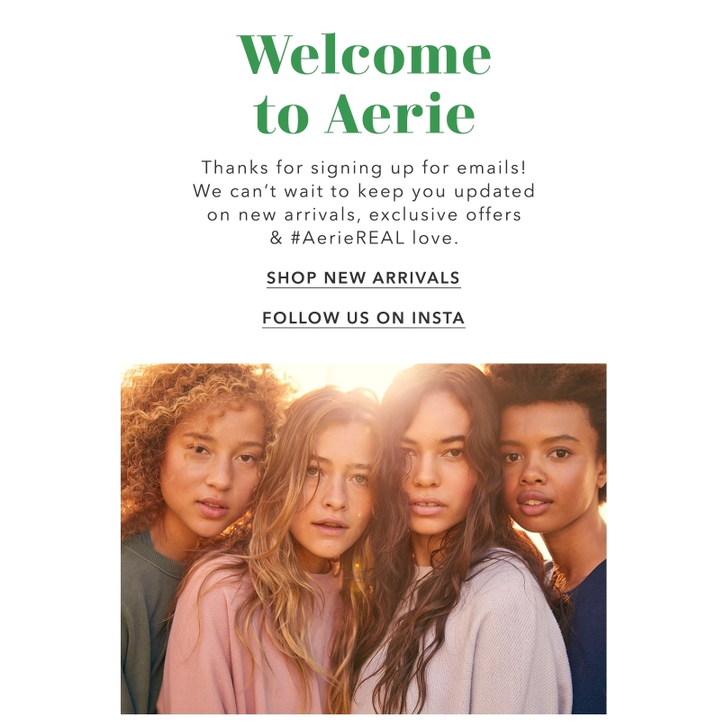 Aerie welcome email