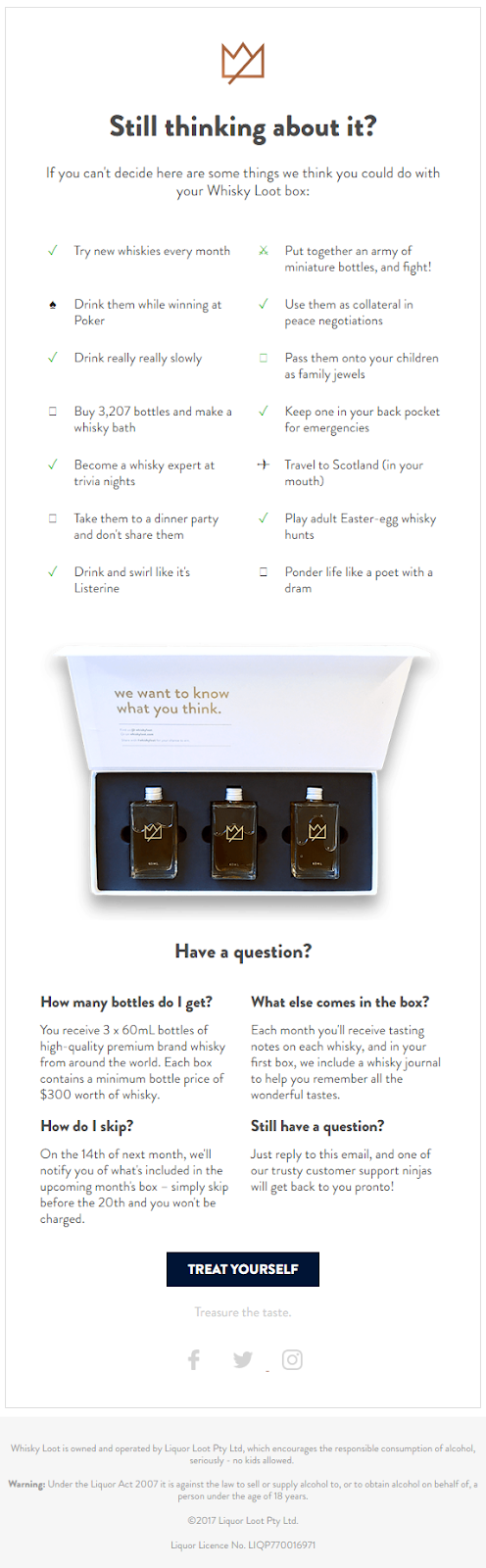 Whiskey loot welcome email